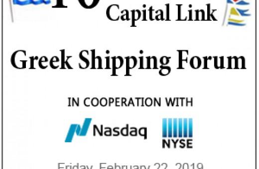 10th Annual capital link  Greek shipping  forum (22.02.2019)